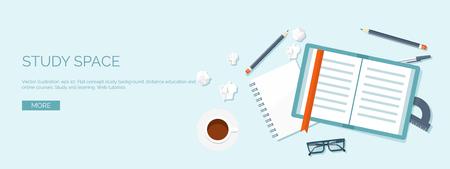 estudiando: Ilustraci�n del vector. Cabecera plana. La educaci�n a distancia y el aprendizaje. Los cursos en l�nea y la escuela web. El conocimiento y la informaci�n. Proceso de estudio. E-learning.