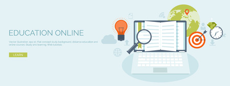 Vector illustration. Flat header. Distance education and learning. Online courses and web school. Knowledge and information. Study process. E-learning.