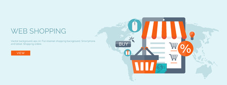 Vector illustration. Flat header. Internet shopping. Web store. Global communication and trading. Web business. E-commerce and money making. Internet banking.