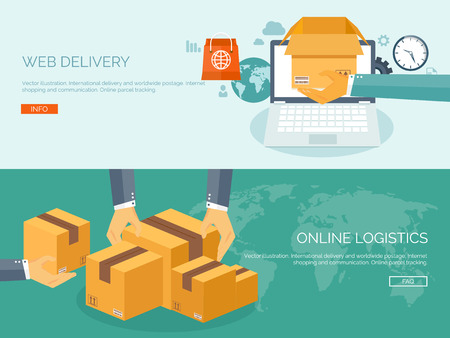 Vector illustration. Flat header. International delivery and worldwide postage. Emailing and online shopping. Envelope and package.