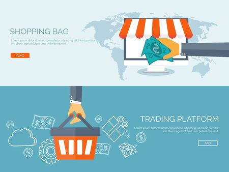 ecommerce icons: Vector illustration. Flat header. Internet shopping. Web store. Global communication and trading. Web business. E-commerce and money making. Internet banking.