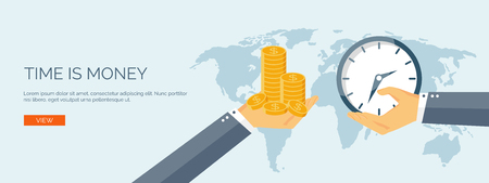 save money: Vector illustration. Flat saving money concept background. Piggy bank and coins.