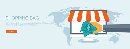 web store: Vector illustration. Flat header. Internet shopping. Web store. Global communication and trading. Web business. E-commerce and money making. Internet banking.