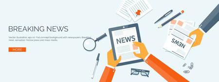 ベクトルの図。フラット ヘッダー。オンライン ニュース。ニュースレターおよび情報。ビジネスや市場のニュース。財務報告書。  イラスト・ベクター素材