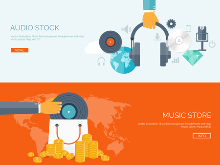 audio: Vector illustration. Flat background. Music.production. Show business. Mp3 and compact disk. Voice recording. Singind and karaoke. Audio store. Illustration