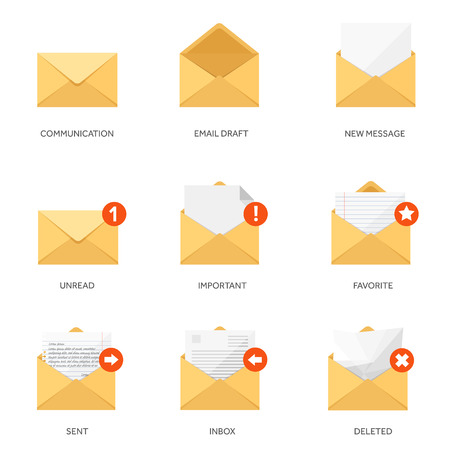email: Vector illustration. Flat background with letter. Emailing concept background. Spam and sms writing.Lettering.