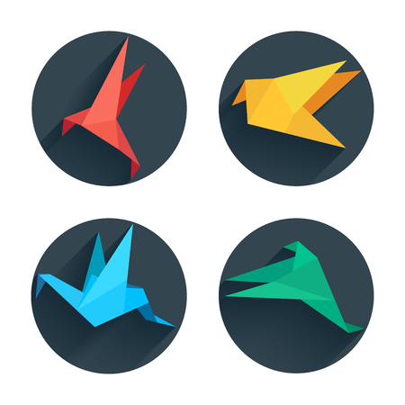 origami: Origami flat paper bird on abstract round background with shadow. Illustration