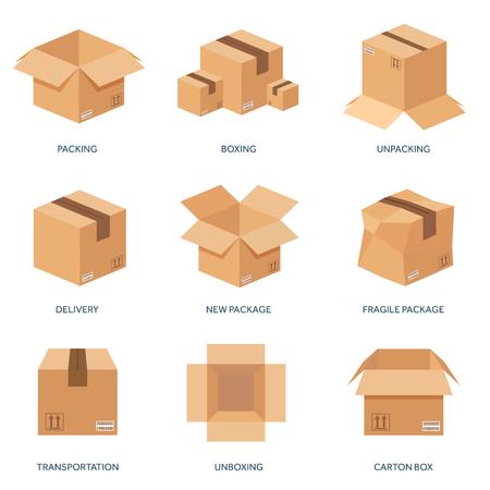 carton: Ilustración del vector. Caja de cartón plana. Transporte, embalaje, envío. Servicio y entrega Post.