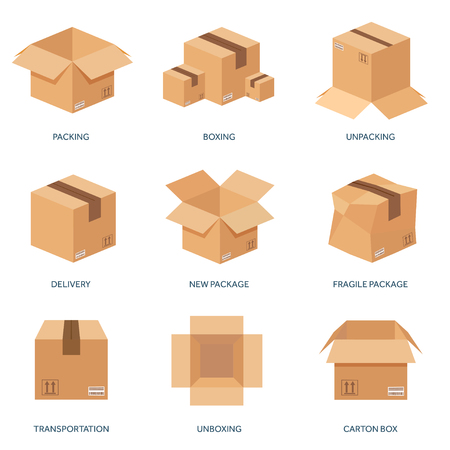 Vector illustration. Flat carton box. Transport, packaging, shipment. Post service and delivery. Çizim