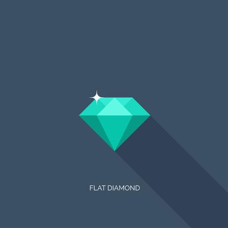 faceting: Vector illustration. Flat diamond with shadow. Crystal. Illustration