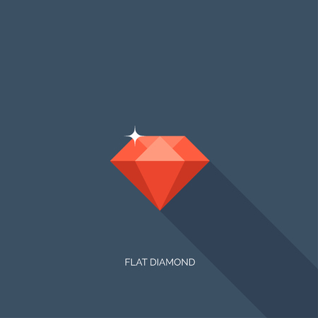 faceting: Vector illustration. Flat diamond with shadow. Crystal. Illustration