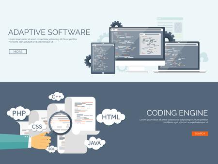 벡터 일러스트 레이 션. 플랫 배경. 코딩, 프로그래밍. 검색 엔진 최적화. 검색 엔진 최적화. 앱 개발과 창조. 소프트웨어, 프로그램 코드. 웹 디자인. 일러스트