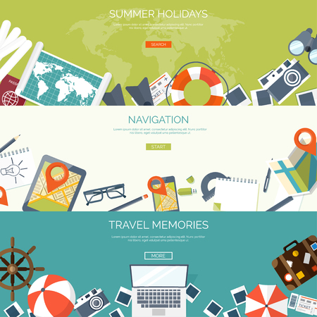 Flat travel background. Summer holidays, vacation. Plane, boat, car  traveling. Tourism, trip  and journey. 矢量图像