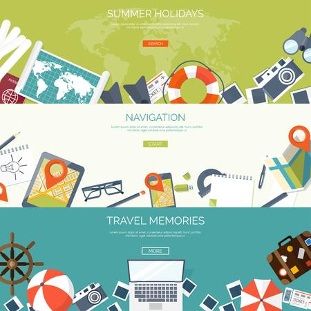 Los viajes de fondo plano. Vacaciones de verano, vacaciones. Avión, barco, viaje en coche. El turismo, viaje y viaje. Ilustración de vector