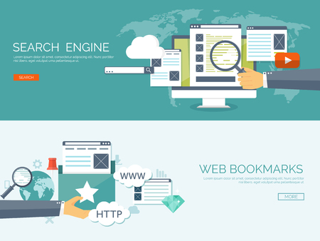 seo: Vector illustration. Coding, programming. Web search, SEO. Development. Cloud technology. Spamming and e-mailing.