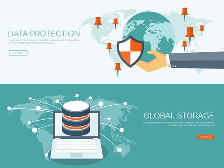 alrededor del mundo: Ilustración del vector. Fondo cloud computing plana. La tecnología de redes de almacenamiento de datos. Los contenidos multimedia y sitios web de alojamiento. La memoria, la transferencia de información.