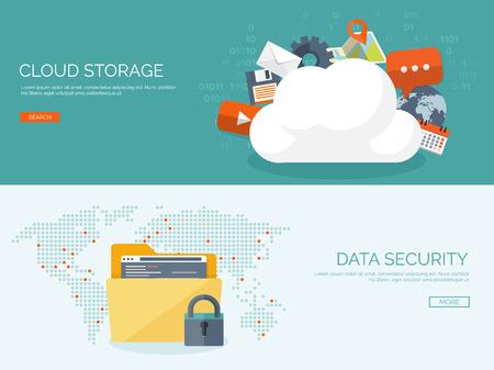 Ilustración del vector. Fondo cloud computing plana. La tecnología de redes de almacenamiento de datos. Los contenidos multimedia y sitios web de alojamiento. La memoria, la transferencia de información. Ilustración de vector
