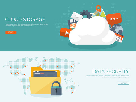 Vector illustration. Flat cloud computing background. Data storage network technology. Multimedia content and web sites hosting. Memory, information transfer. Stok Fotoğraf - 47609607