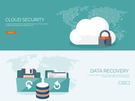 Vector illustration. Appartement cloud computing fond. La technologie de réseau de stockage de données. Le contenu multimédia et de sites Web d'hébergement. Mémoire, le transfert de l'information.