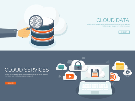 storage device: Vector illustration. Flat cloud computing background. Data storage network technology. Multimedia content and web sites hosting. Memory, information transfer.