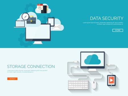 Vektor-Illustration. Wohnung Cloud-Computing-Hintergrund. Datenspeichernetzwerktechnik. Multimedia-Inhalte und Web-Seiten Hosting. Speicher, Informationsübertragung. Standard-Bild - 47609626