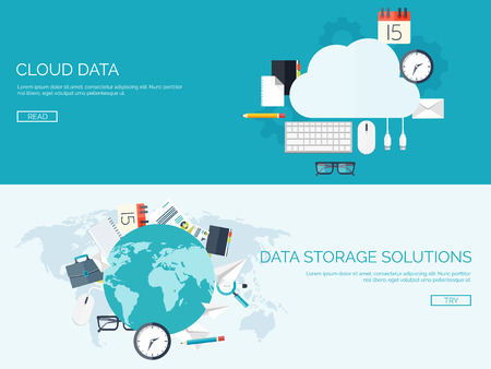 data memory: Vector illustration. Flat cloud computing background. Data storage network technology. Multimedia content and web sites hosting. Memory, information transfer.