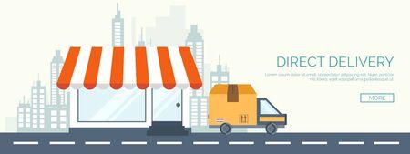 ecommerce icons: Vector illustration. Flat header. Shopping. Web store. Global communication, trading. E-business. Commerce, money making. Internet banking.