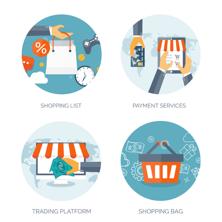 ecommerce icons: Vector illustration. Flat header. Shopping. Web store. Global communication, trading. E-business. Commerce, money making. Internet banking.