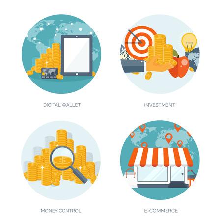 money: Ilustración del vector. Cabecera plana. Compras. Tienda en línea. La comunicación global, el comercio. E-business. Comercio, de hacer dinero. Banca por Internet.