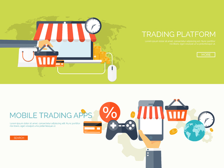 online transaction: Vector illustration. Flat header. Shopping. Web store. Global communication, trading. E-business. Commerce, money making. Internet banking.