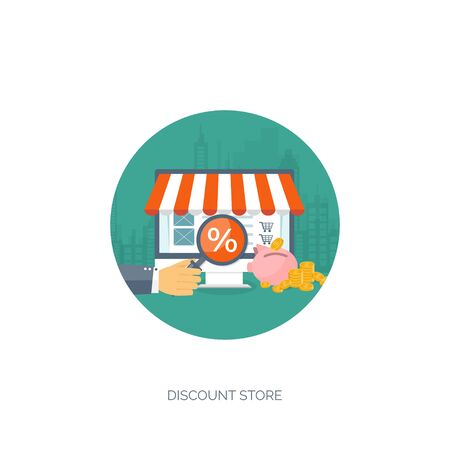 web store: Vector illustration. Flat header. Shopping. Web store. Global communication, trading. E-business. Commerce, money making. Internet banking.