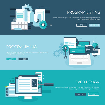 development: Vector illustration. Flat background. Coding, programming. SEO. Search engine optimization. App development and creation. Software, program code. Web design.
