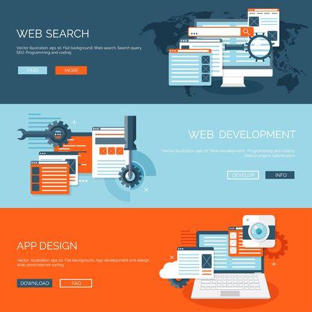 Vektor-Illustration. Wohnung Hintergrund. Codierung, Programmierung. SEO. Suchmaschinenoptimierung. App-Entwicklung und Kreation. Software, Programmcode. Web-Design. Vektorgrafik