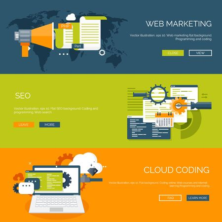 cloud computing: Vector illustration. Flat background. Coding, programming. SEO. Search engine optimization. App development and creation. Software, program code. Web design.