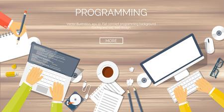 program: Vector illustration. Flat background. Coding, programming. SEO. Search engine optimization. App development and creation. Software, program code. Web design.