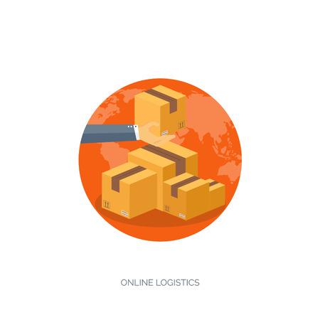 lie down: Flat vector illustration backgrounds set. International delivery and worldwide postage. Emailing ,online shopping. Envelope ,package.