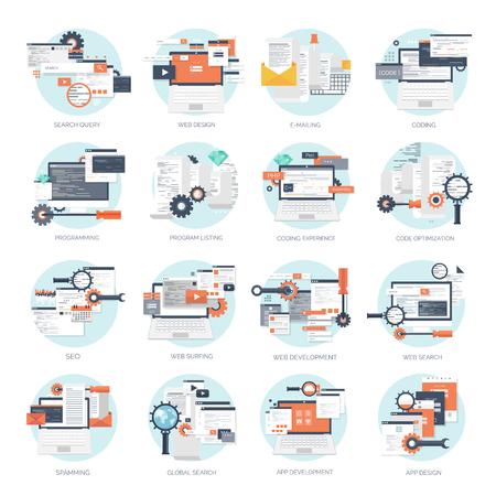 Vektor-Illustration. Wohnung Hintergrund. Codierung, Programmierung. SEO. Suchmaschinenoptimierung. App-Entwicklung und Kreation. Software, Programmcode. Web-Design. Standard-Bild - 47609835