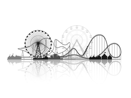 Vector illustration. Ferris wheel. Carnival. Funfair background. Circus park.  Skyscrapers with roller coast. Vettoriali