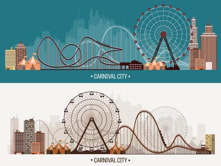 ベクトルの図。観覧車。カーニバル。遊園地の背景。サーカス公園。 ローラーの海岸と高層ビル。