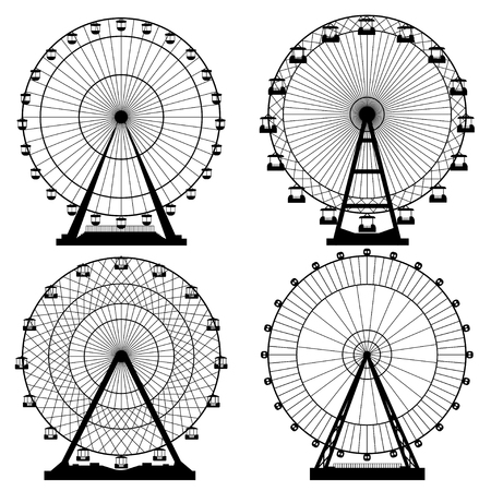 Vector illustrations set. Ferris wheel. Carnival. Funfair background. Ilustração