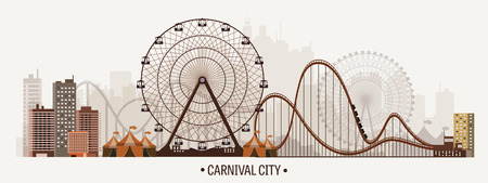 Vector illustration. Ferris wheel. Carnival. Funfair background. Circus park.  Skyscrapers with roller coast. Stock Illustratie