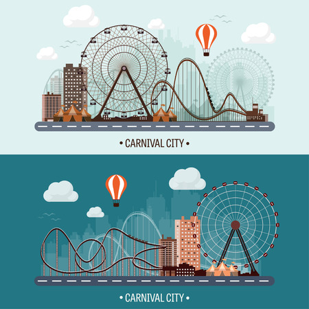 Vector illustration. Ferris wheel. Carnival. Funfair background. Circus park.  Skyscrapers with roller coast. Illustration