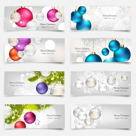 image: Vector illustration. Set with Christmas greeting cards. New year. Celebration. Illustration