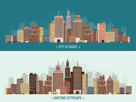 midtown: Vector illustration. Set of city silhouettes. Cityscape. Town skyline. Panorama. Midtown houses. Skyscrapers.