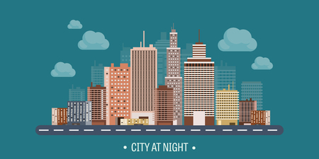 벡터 일러스트 레이 션. 도시 실루엣의 집합입니다. 도시입니다. 마 스카이 라인. 파노라마. 미드 타운 하우스. 고층 빌딩.