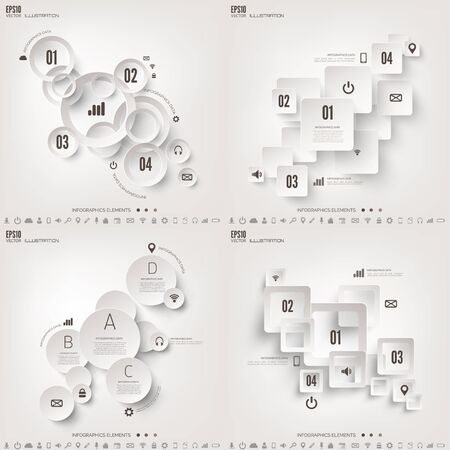 visualisation: Vector illustration. Infograaphics set. Diagram or chart template with steps. Business information and data visualisation process. Graph.