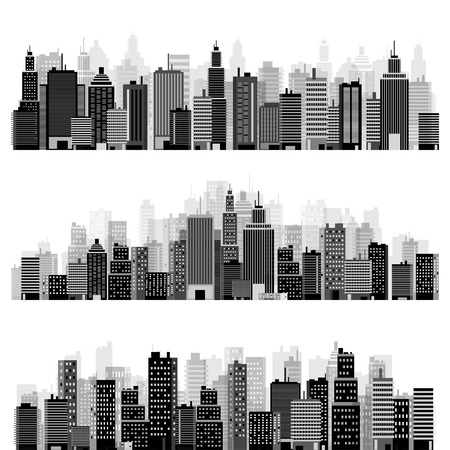 skyscraper: Vector illustration. Set of city silhouettes. Cityscape. Town skyline. Panorama. Midtown houses. Skyscrapers.