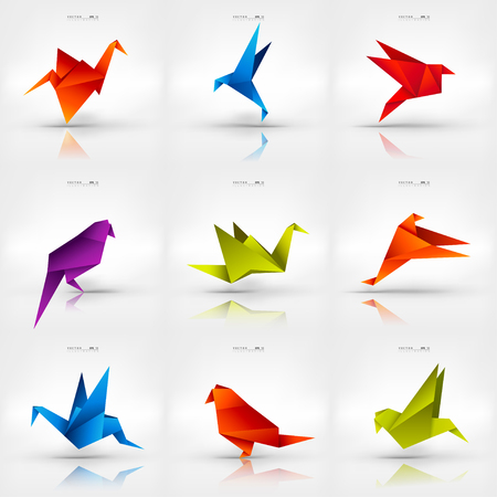 pajaritos: Origami de papel aves en el fondo abstracto. Conjunto. Vectores