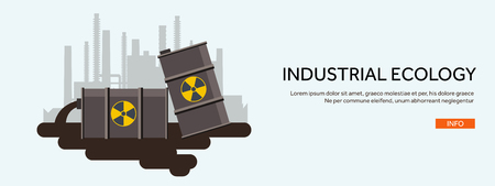 powerhouse: Vector illustration. Flat industrial background. Nuclear power plant, fuel. Environment protection. Eco problems. Air pollution. Urbanization. Illustration