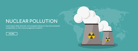 Vector illustration. Flat industrial background. Nuclear power plant, fuel. Environment protection. Eco problems. Air pollution. Urbanization. Illustration